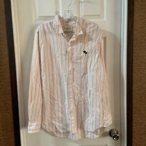 Pacsun Modern Amusement White/Pink Striped Button Down Shirt M