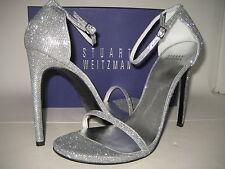 $415 NEW Stuart Weitzman Nudist Dress Sandals US 8 Wide High Heels Shoes Silver