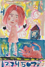 Outsider Art Woman & Cat Mixed Media Painting Gouache Acrylic Katie Jeanne Wood