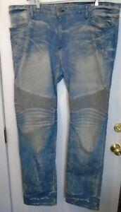 Robin's Jeans Long Flap Moto Rainforest Distressed Jeans NWOT  44 $500