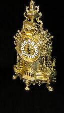 Horloge de cheminée en laiton table pendule antique baroque or 42cm MASSIF NEUF