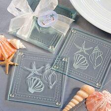 Beach Themed Glass Coaster Set Favor Wedding Bridal Shower Gift Favors