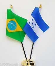 Brazil & Honduras Double Friendship Table Flag Set