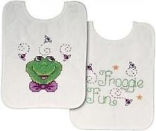 Frog Fun 2 Quilted Bibs Stamped Cross Stitch Kit