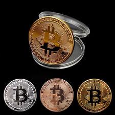 Gold Silver Plated Bitcoin Collectible Coin + Protective Case