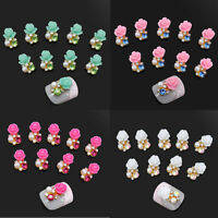 10 Pcs Nail Art 3D Alloy Rhinestone Pearl Flower DIY Decoration Glitter Jewelry