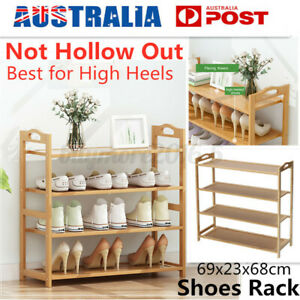 4 Tier Bamboo Shoe Rack Shoes Storage High Heels Shelf Shelves Stand Cabinet