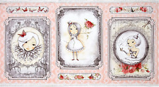 """La Vie En Rose Girl Picture Patch Pink 100% Cotton Fabric Panel 44"""" X 23.5"""""""