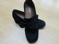 Hobbs Black Suede Block Heel Shoes LOAFERS with Bow sz 37.5 UK 4.5