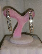 "designer 10k Yellow Gold 1"" princess bezel cz tennis stick dangle earrings $225"