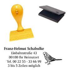 Adressenstempel « WELLENSITTICH » mit Kissen - Firmenstempel - Vogel Ornithologe
