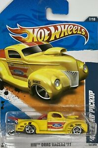 2011 Hotwheels Yellow 1940 Ford Pickup HW Drag Racers Series 7/10 Card # 127/244