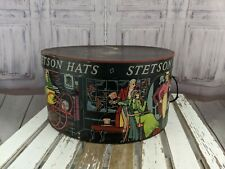 Vintage stetson hat box carriage victorian decor Rare case