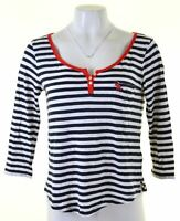 ABERCROMBIE & FITCH Womens Top Long Sleeve Size 12 Medium Navy Blue Striped