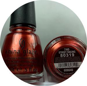 China Glaze Nail Polish STREET RACING 740 Metallic Red Orange w Gold Shimmer Lac