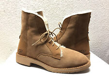 UGG QUINCY CHESTNUT COMBAT-INSPIRED SHEEPSKIN BOOTS US 8.5 / EU 39.5 / UK 7 NEW