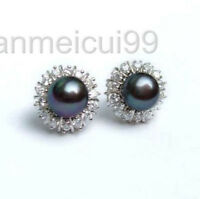 8-9mm Black Natural Pearl Earring Crystal AAA Grade