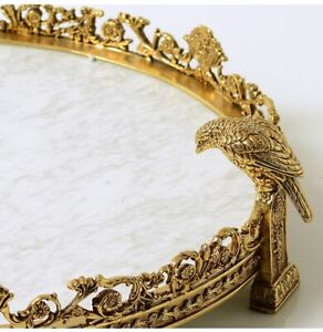 42cm Marble brass fruit tray bowl