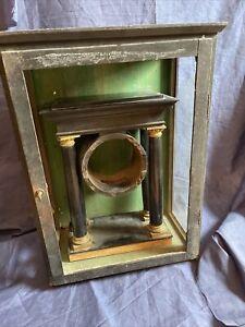 Wiener Portaluhr Biedermeier Empire Gehäuse Säulenuhr Kaminuhr Antik Uhr Vintage