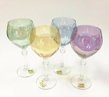 SET OF 4 RCR FLUENTE BLUE,GREEN,PURPLE,YELLOW CRYSTAL WINE GLASS GOBLETS-ITALY