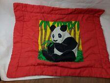 "Vintage Panda Bear Small Blanket 31"" x 24"" Red Yellow Green"