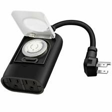 Timer Outlet, 24Hour Mechanical Timer Switch,2 Grounded Outlet Water Resistance