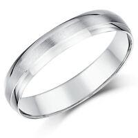 9ct Weiß Gold Ring Schwer D Form Design Ehering Matt & Poliert 4mm Ring