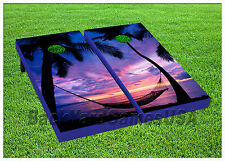 Cornhole Hammock on Beach Sunset Purple Boards Beanbag Toss Game w Bags S 01414