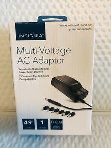 Insignia™ -  Multi-Voltage Universal AC Adapter w/ 7 Tips & USB Port - Black