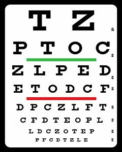 EYE SIGHT CHART EYESIGHT OPTICIAN GLASSES SPECTACLES METAL SIGN TIN PLAQUE 292