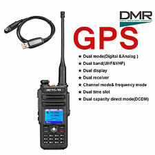 New GPS Retevis RT82 Dual Band 3000CH IP67 Waterproof  DMR DCDM Radio+USB Cable