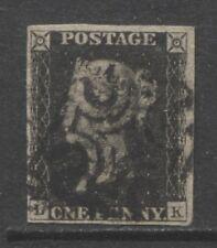 1840 GREAT BRITAIN  1p Queen Victoria black, Maltese Cross, Pos. LK, used signed