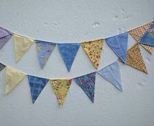 Modern Bunting handmade fabric 15 flags - blue and yellow garland flags
