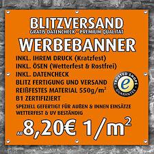Werbebanner Werbeplane Plane Banner Druck verschiedene Größen! 550g/m²