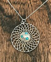 """Vintage Sterling Silver & Turquoise stones Pendant 20"""" Chain Necklace (D7A3)"""