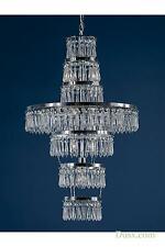 DUSX Vintage Art Deco Chrome & Clear Crystal 3 Arm Chandelier Ceiling Light