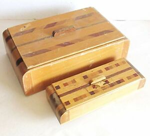 "2 Nesting MCM Inlaid Wood Souvenir Trinket Jewelry Boxes Golden CO 4.25"" FREE SH"