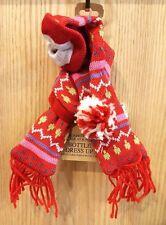 2pc Christmas Hat & Scarf Red Print Wine Bottle Dress-up w/Fringe