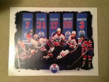 Oilers 05-06 Gretzky Kurri Fuhr Coffey Hamilt Retired Season Ticket Litho Poster
