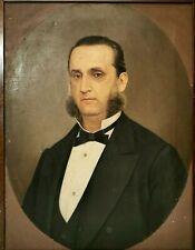 """DIPINTO OLIO SU TELA XIX SECOLO """" RITRATTO DI BORGHESE """" G. QUEIROLO (1825-1910)"""