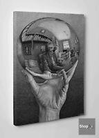 👍Quadro Escher Mano con Sfera Riflettente Stampa su Tela Cotone Effetto Dipinto