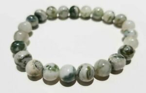 AAA+ Natural White Tree Agate Bracelet Gemstone Round 8 MM BB-223