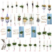 Blumenampel Hängeampel Beige Makramee Pflanzen Garten Zimmer Blumentöpfe Seil DE