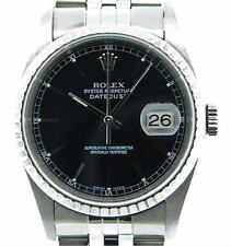 Rolex Datejust Mens Stainless Steel No Holes Watch Jubilee Band Black Dial 16220