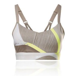 Reebok Womens SR Q2 Lux Strappy Bra Cream Grey Yellow Sports Gym Breathable