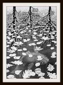 """5"""" M.C. Escher Three Worlds vinyl sticker. Surrealist art decal for car, laptop."""