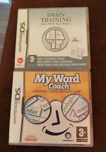 2 NINTENDO DS GAMES BRAIN ACADEMY & MY WORD COACH TESTED WITH MANUALS