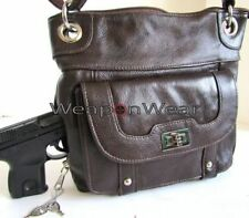 Purse Concealed Carry Concealment Gun Brown Leather Locking Holster Gun 18