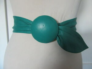 VINTAGE 1980'S SOFT TURQUOISE LEATHER CINCH BELT ROUND LEATHER FASTENING