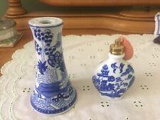 Antique Blue Willow Dresser Set Porcelain Perfume Bottle & Stick Hat Pin Holder